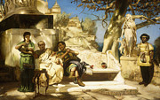 Greek Sculpture Painting Prints - The Patricians Siesta Print by Hendrik Siemiradzki