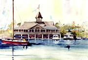 Docked Sailboats Painting Posters - The Pavilion at Balboa Island Poster by Gail Sellers