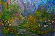 Gardens Paintings - The Peaceful Path by Michael Mrozik