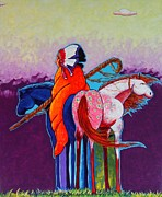 Herd Of Horses Paintings - The Peacemakers Gift by Joe  Triano