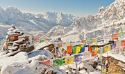 Trekking Posters - The Peak of Gokyo Ri Poster by Kristin Lau