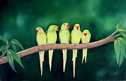 Bird Prints Paintings - The Peanut Gallery by Anne Brookover