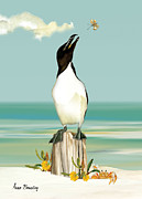 Razorbill Prints - The Penguin has Landed Print by Anne Beverley