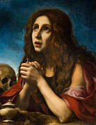 Blue Background Framed Prints - The Penitent Magdalen Framed Print by Carlo Dolci