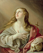 Mary Magdalene Metal Prints - The Penitent Magdalene Metal Print by Guido Reni