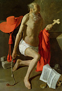 Red Robe Painting Posters - The Penitent St Jerome  Poster by Georges de la Tour
