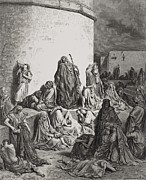People Drawings Framed Prints - The People Mourning over the Ruins of Jerusalem Framed Print by Gustave Dore