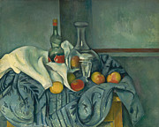 Wine Glasses Prints - The Peppermint Bottle Print by Paul Cezanne