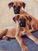 Puppies Pastels Framed Prints - The Perfect Pair Framed Print by Billie Colson