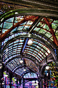 Moss Green Photo Framed Prints - The Pergola Ceiling in Pioneer Square Framed Print by David Patterson