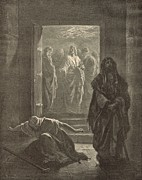 Christian Artwork Drawings - The Pharisee and the Publican by Antique Engravings