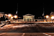 Art Museum Prints - The Philadelphia Art Museum Steps at Night Print by Bill Cannon