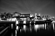 Art Museum Digital Art Prints - The Philadelphia Waterworks in Black and White Print by Bill Cannon