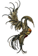 Fantasy Sculpture Metal Prints - The Phoenix Metal Print by Cara Bevan