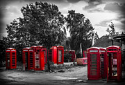 Traditional Pop Framed Prints - The Phonebox Graveyard Framed Print by Ian Hufton