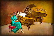 Player Mixed Media Metal Prints - The Pianist Metal Print by Bedros Awak