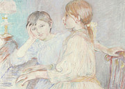 Girls Pastels Posters - The Piano Poster by Berthe Morisot
