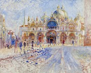 Pigeons Framed Prints - The Piazza San Marco Framed Print by Pierre Auguste Renoir