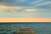 The Pier At Sunset Print by Heather Allen