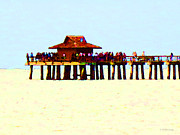 Piers Mixed Media Prints - The Pier - Beach Pier Art Print by Sharon Cummings