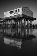 Old And New Prints - The Pier BW Print by Susan Candelario
