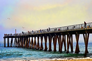 Pylons Digital Art Framed Prints - The Pier Framed Print by Camille Lopez