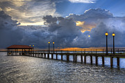 Night Scenes Photos - The Pier by Debra and Dave Vanderlaan
