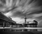 Ocean Black And White Prints Prints - The Pier II Print by David Bowman