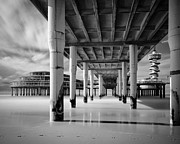Ocean Black And White Prints Prints - The Pier III Print by David Bowman