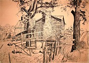 Barn Pen And Ink Drawings Prints - The Pig Sty Print by Kip DeVore