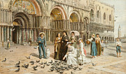 Architecture Painting Framed Prints - The Pigeons of St Mark s Framed Print by George Goodwin Kilburne