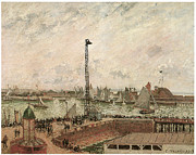 Pissarro Prints - The Pilots Jetty Le Harve Mornig Grey Weather Misty Print by Camille Pissarro