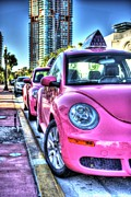 Volkswagen Beetle Prints - The Pink Beetle Print by Armando Perez