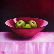 Fruit Bowl Paintings - The Pink Bowl by Cynthia House