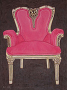 Ornate Drawings - The Pink Chair by Margaret Newcomb