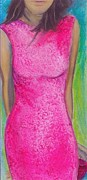 Figurative Art Mixed Media Posters - The Pink Dress Poster by Debi Pople