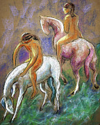 White Horse Prints - The Pink Horse Print by Carol Jo Smidt