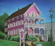Antiques Paintings - The Pink House in Cape May by Melinda Saminski
