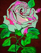 By Any Other Name Painting Posters - The Pink Rose Abstract Poster by Saundra Myles