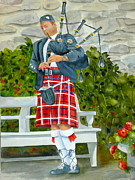 Tartan Painting Posters - The Piper Poster by Becky Taylor