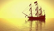 Pirate Ships Digital Art Posters - The Pirate Ship and The Sunset Poster by Liam Liberty