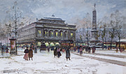Hiver Framed Prints - The Place du Chatelet Paris Framed Print by Eugene Galien-Laloue