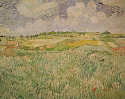 Field. Cloud Painting Prints - The Plain at Auvers Print by Vincent Van Gogh