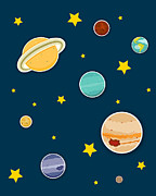Children S Room Prints - The Planets  Print by Christy Beckwith
