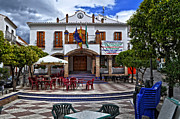 Outdoor Cafe Photo Prints - The Plaza - Ardales Spain Print by Mary Machare