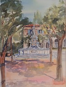 Impressionisttic Paintings - The Plaza by Dodie Davis