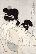 Conversing Painting Metal Prints - The Pleasure of Conversation Metal Print by Kitagawa Utamaro