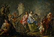 Lute Metal Prints - The Pleasures of the Seasons     Spring Metal Print by Johann Georg Platzer