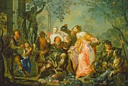 Wine Woman  Paintings - The Pleasures of the Seasons   Autumn by Johann Georg Platzer