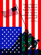 Pledge Of Allegiance Posters - The Pledge of Allegiance - Iwo Jima 20130210 Poster by Wingsdomain Art and Photography
